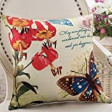 ZZYHOME-American Creative Sofa Cushion Throw Pillow Home Decor office and car Decorative Cushion ,5555cm( Hood + pillow),Z Butterfly Dance bough