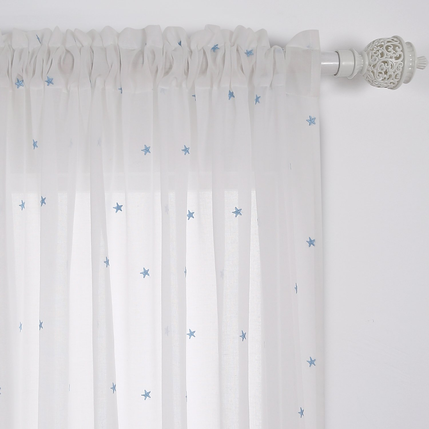 Deconovo Little Star Embroidery Voile Curtains with Rod Pocket Sheer Window Curtain for Girls Room Sheer Curtains
