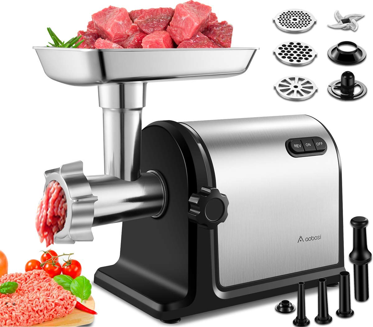 Aobosi Electric Meat Grinder 2000W Max Heavy Duty Stainless Steel Meat Mincer with 3 Grinding Plates, 3 Sausage Stuffer Tubes Kubbe Attachments,Easy One-Button Control