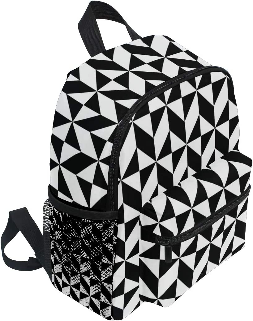 Small School Bag Black White Geometric Pattern Backpack for Girl Boy Children Mini Travel Daypack Primary Preschool Student Bookbag