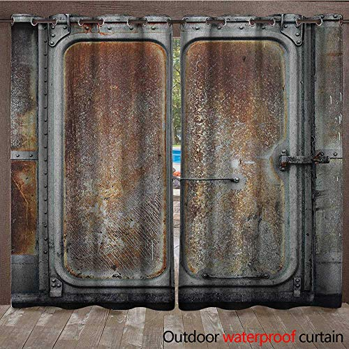 BlountDecor Industrial Indoor Outdoor Curtain Vintage Railway Container Door Old Locomotive Transportation Iron Power DesignW120 x L108 Grey Brown -