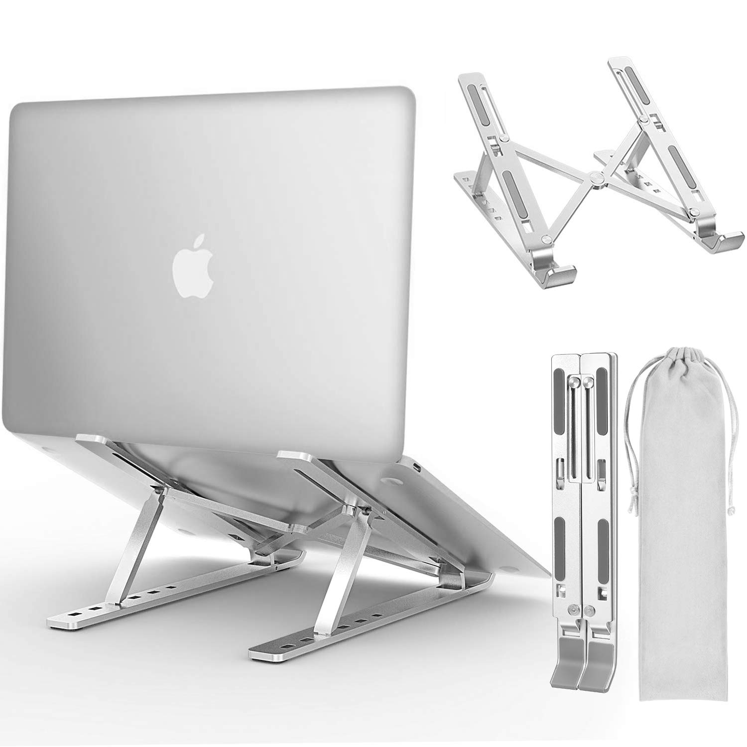 "Laptop Stand, iVoler Adjustable Aluminum Laptop Computer Stand Tablet Stand,Ergonomic Foldable Portable Desktop Holder Compatible with MacBook Air Pro, Dell XPS, HP, Lenovo More 10-17"" Laptops"