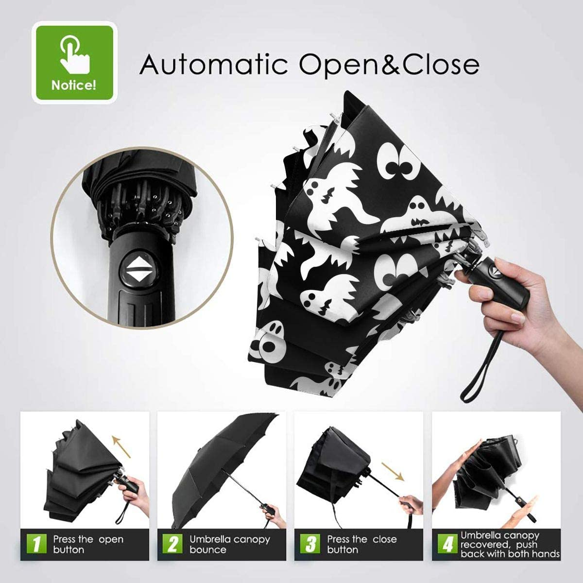 Travel Umbrella Windproof Folding Umbrellas With Cute Halloween Boo Printed