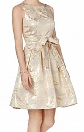 81cc24b6435d Image Unavailable. Image not available for. Color: Tommy Hilfiger $149  Womens Gold Floral Belted Metallic Fit + Flare ...