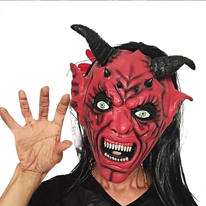 Diable Satan Rouge Latex Tête Masque Déguisement Halloween Adulte