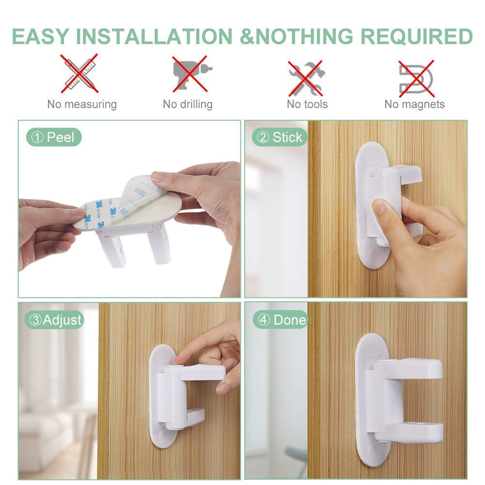 Door Lever Lock- Upgrade Child Proof Doors & Handles 3M Adhesive -Child Safety Proof Door Lock (2Pack) by Good Life Home Product (Image #6)