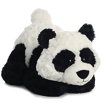 Aurora Oso panda regordete de peluche color blanco y negro