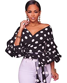321c596c0e94 Women s Elegant Off Shoulder V Neck Wrap Puff Sleeve Floral Print Blouse  Shirt Tops with Belt