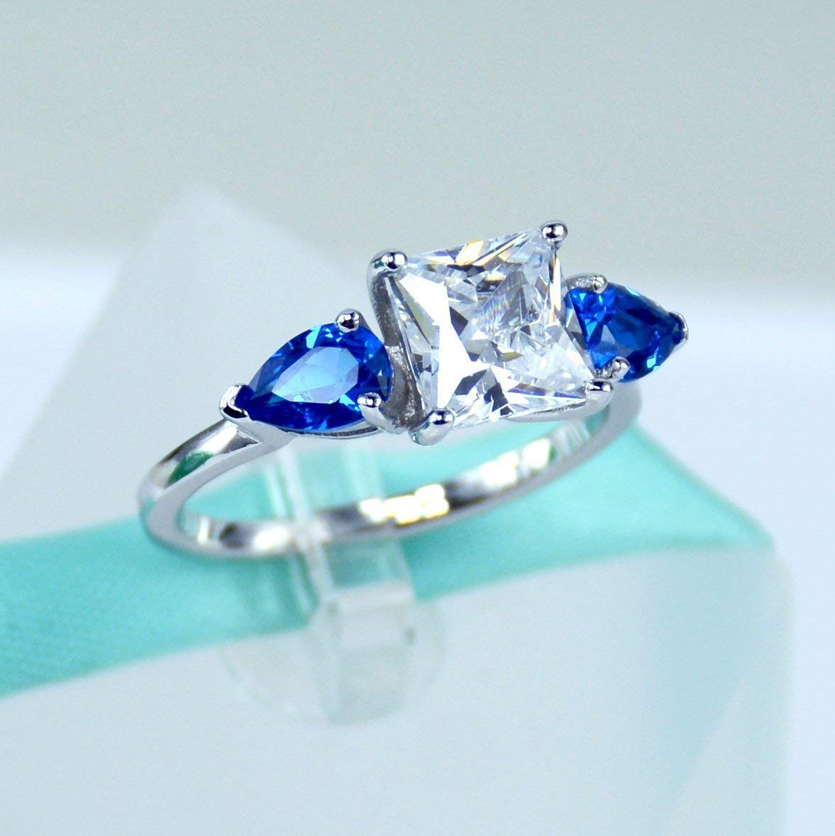 2Carat Princess Cut Simulated Diamond, Blue Pear, 925 Sterling Silver Solitaire Ring, Cubic Zirconia Stone, Daily Ring, Engagement Ring, Promise Ring, Women