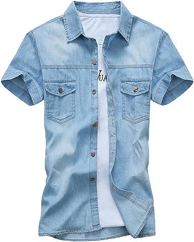Dooxi Adolescentes Casual Slim Fit Camisa Vaquera Verano Manga Corta Camisas: Amazon.es: Ropa y accesorios