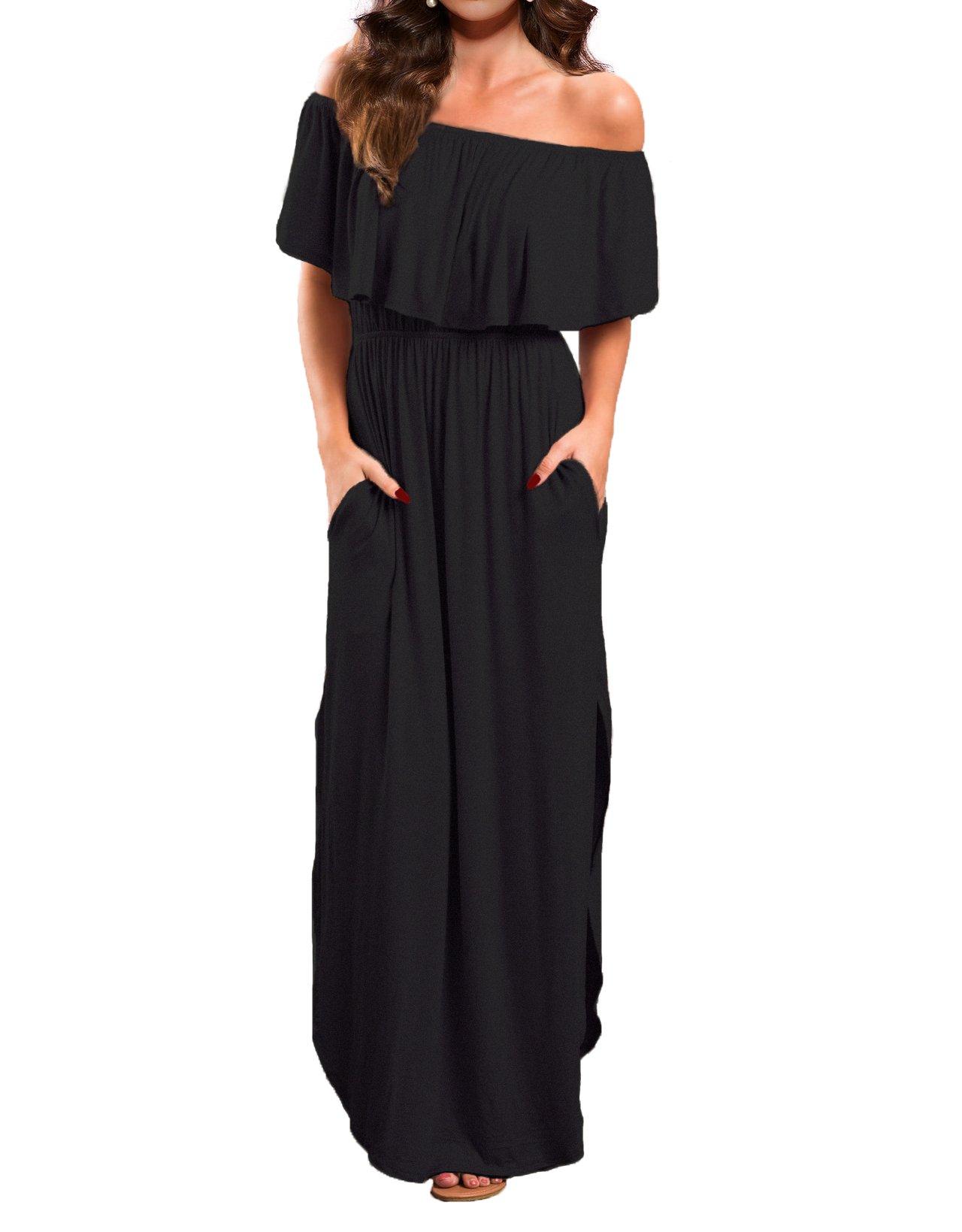 VERABENDI Women's Off Shoulder Summer Casual Long Ruffle Beach Maxi Dress with Pockets Black L
