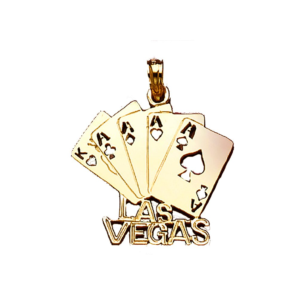 14k Yellow Gold Travel Charm Pendant, Las Vegas With Playing Cards Cut-out by Million Charms