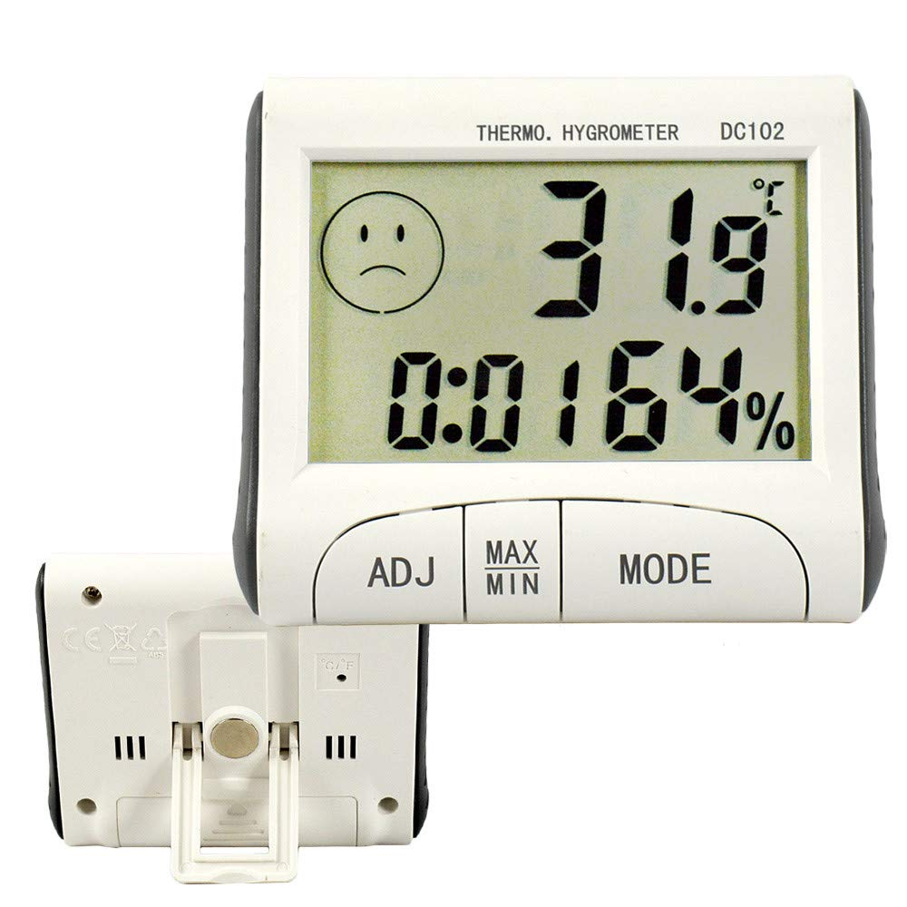 Onseen Digital Hygrometer Thermometer Indoor Room Outdoor Temperature Humidity Meter LCD Stand Magnetic Backing Sensor Monitor with Humidity Gauge Mini Weather Station with Clock