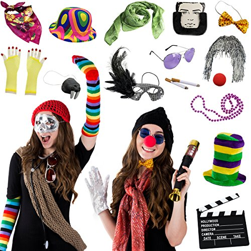 Hat Photo - Photo Booth Props - Photo Booths for Parties - 18 Pc. Assorted Photo Booth Kit by Funny Party Hats