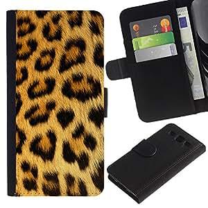 KingStore / Leather Etui en cuir / Samsung Galaxy S3 III I9300 / Patrón Leopard Spots pantera piel marrón
