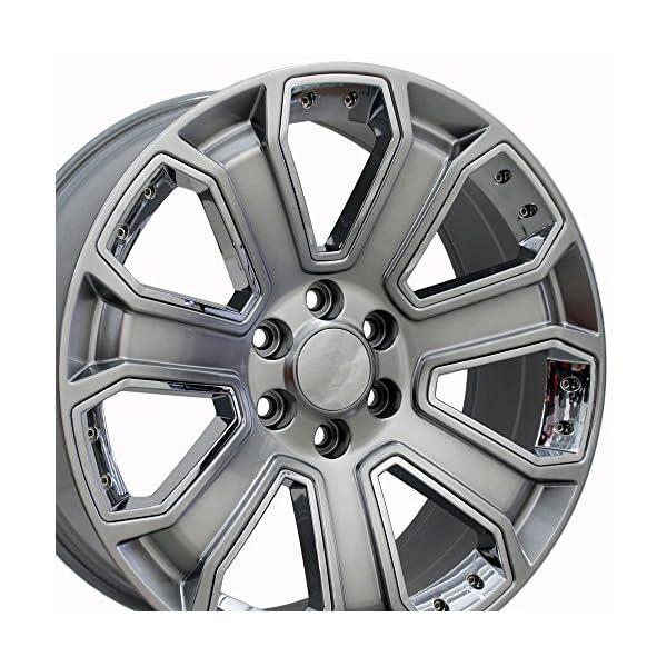 OE-Wheels-22-Inch-Fit-Chevy-Silverado-Tahoe-GMC-Sierra-Yukon-Cadillac-Escalade-CV93-Hyper-Black-wChrome-22×9-Rims-Hollander-5661-SET