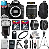 Holiday Saving Bundle for D3400 DSLR Camera + 18-55mm VR Lens + 0.43X Wide Angle Lens + 2.2x Telephoto Lens + Flash with LCD Display + Backup Battery + UV Filter + Tripod - International Version