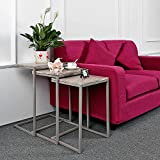 IKAYAA Nesting Tables, Set of 3 Sofa Couch End Coffee Table Home Furniture, Metal Frame