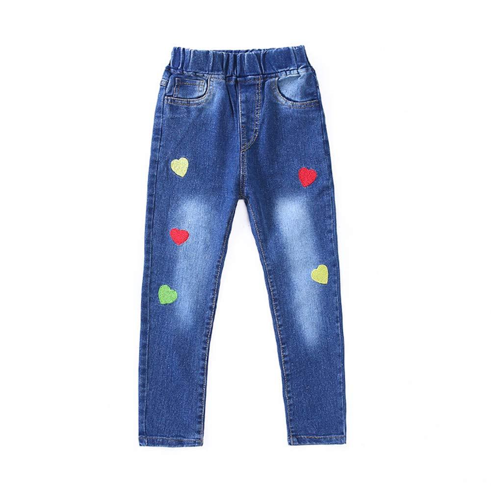 Da.Wa Washed Jeans Love Pattern Dark-Colored Slim Elastic Waist Jeans for Girls