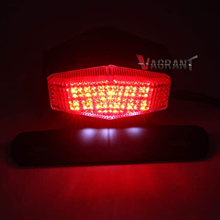 1 Pack United Pacific 110205 5 Red Led Motorcycle License Plate Frame 3Rd Brake Light