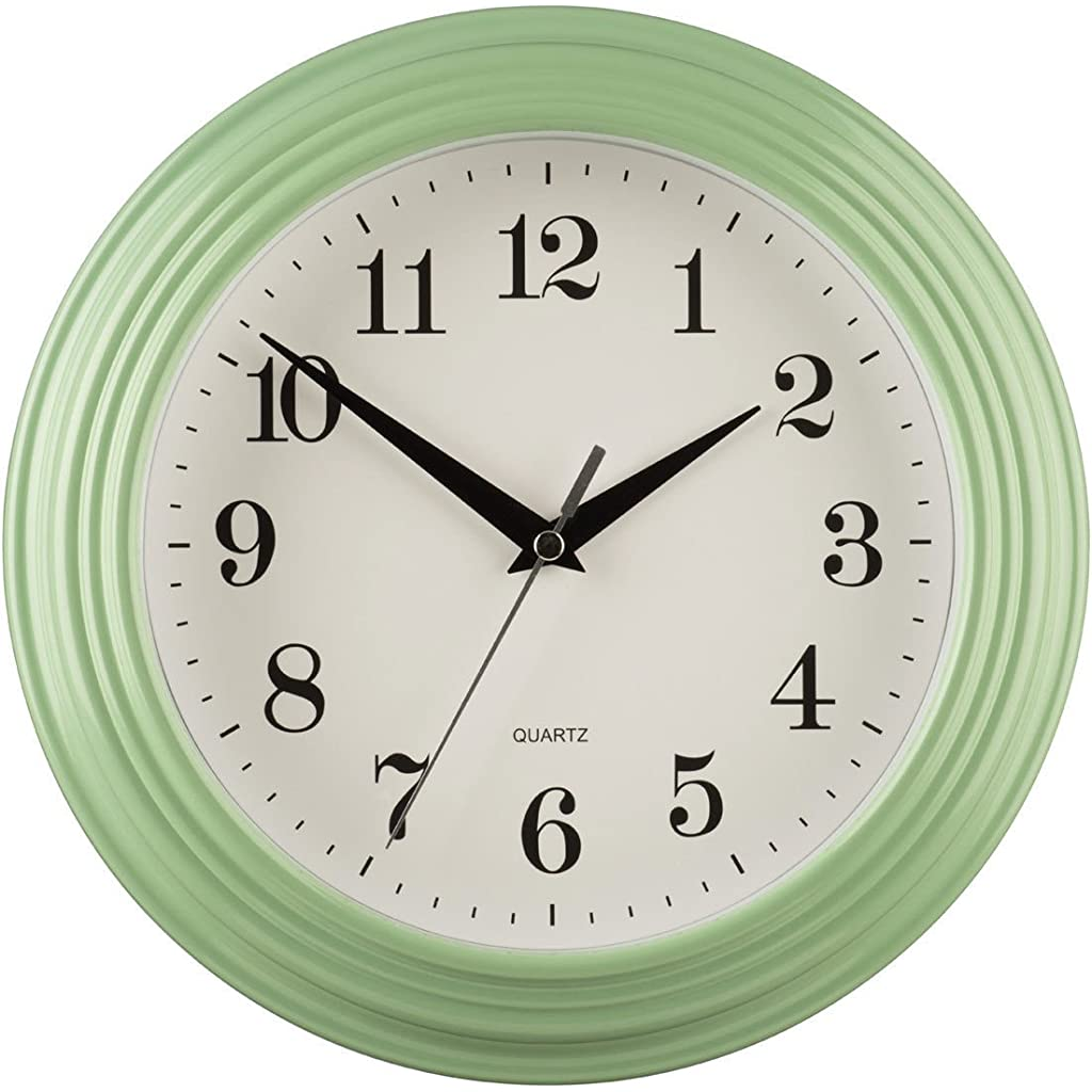 Large Vintage Quartz Kitchen Wall Clock Mint Green