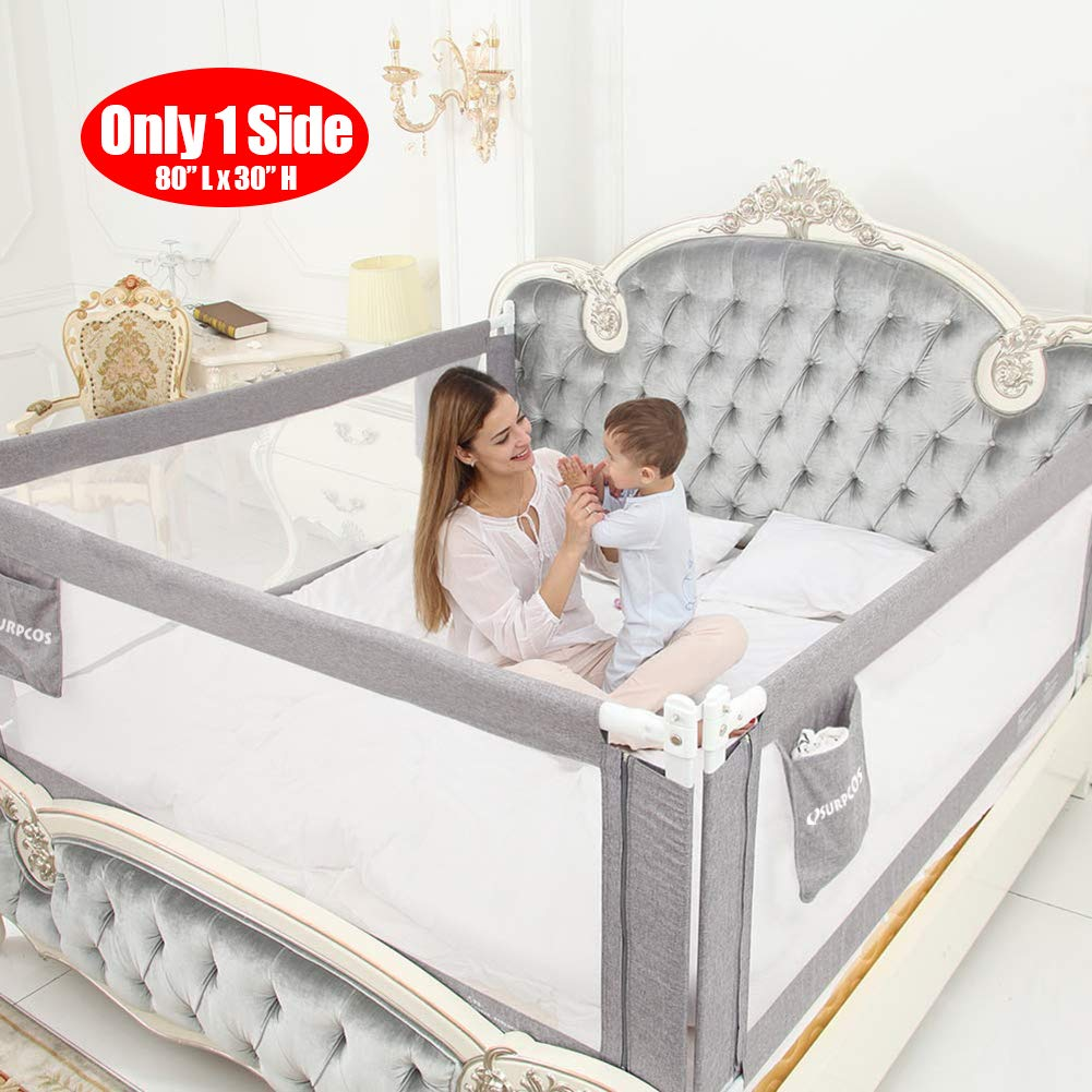 Grey Color Queen Size Bed Safety Bed GuardRail Bed Fence for Children 3 Set for 3 Sides Toddlers 2 Length Side and 1 feet Side Infants