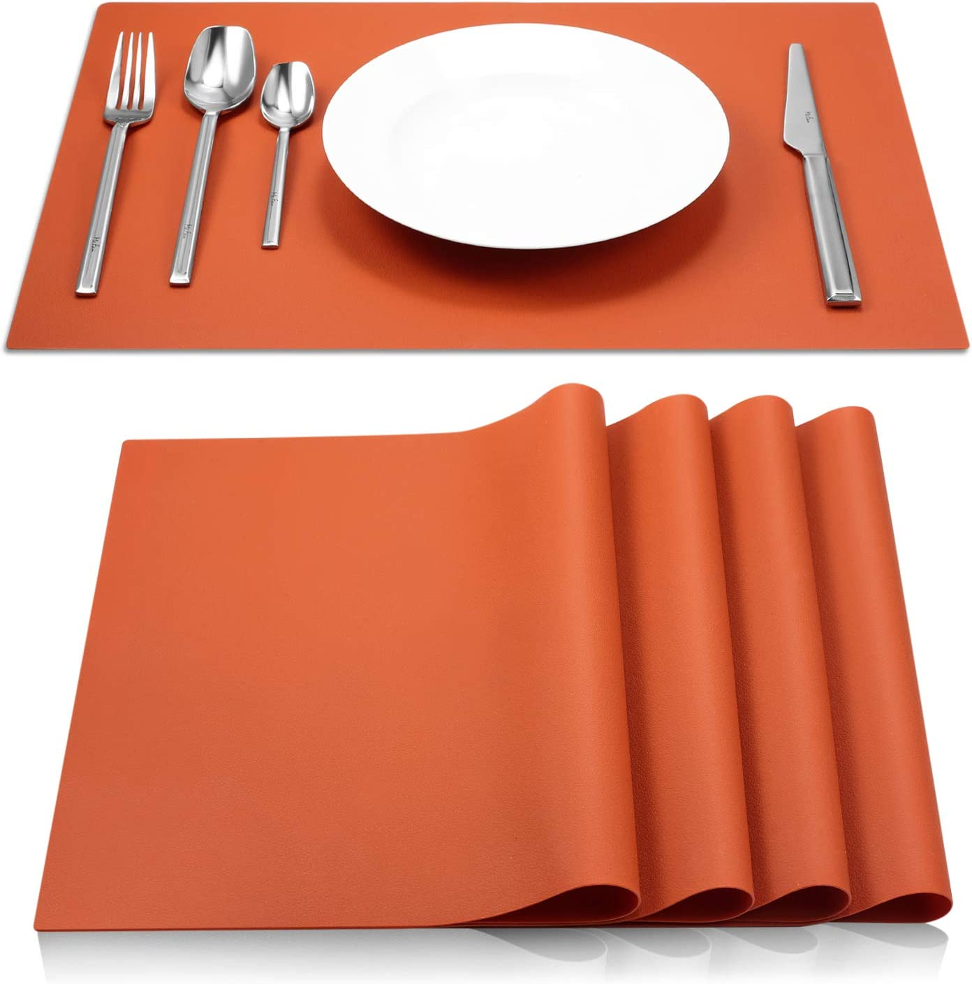 ME.FAN Silicone Placemats [17.7''x12.6''] Heat-Resistant Thicken Non-Slip Tablemats Stain Resistant Anti-Skid Washable Reusable Table Mats Set of 4 (Dark Orange)