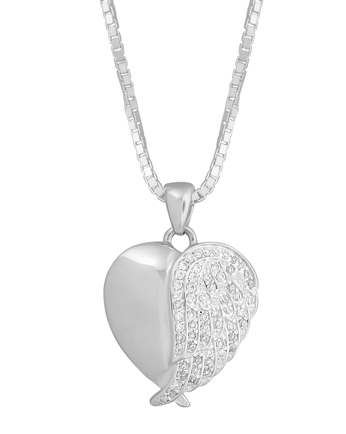 Sterling Silver With White CZ Stones Angel Wing Heart Urn Pendant 18 Inch Sterling Silver Box Chain