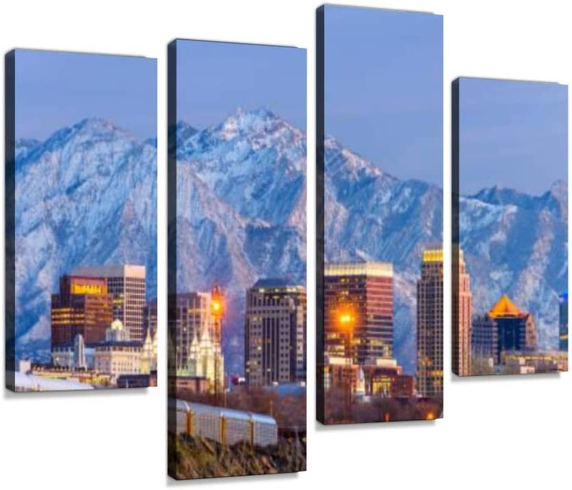 Hipolotus 4 Panel Canvas Pictures Salt Lake City Downtown Animals At Sunrise Sunset Stock Pictures Wall Art Prints Paintings Stretched Framed Poster Home Living Room Decoration Ready To Hang Posters