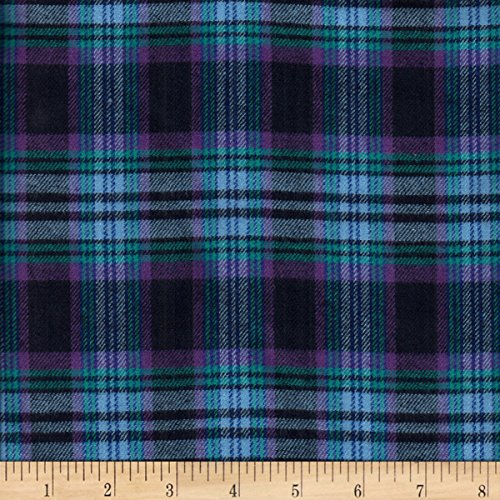 (Textile Creations Windstar Twill Flannel Plaid Navy/Purple/Light Blue Fabric by the Yard )