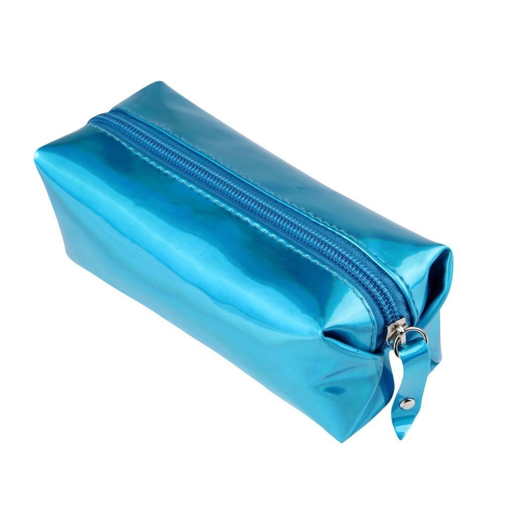 Clearance! Fashion Hologram Pencil Case Pen Holder Makeup Boxes Zipper Comestic Storage Bag (Blue)