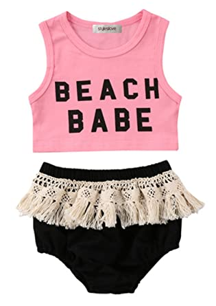 fedab6b6a2 stylesilove Infant Baby Girl Pink Beach Baby Corp Top and Crochet Lace  Fringed Cotton Bloomer 2