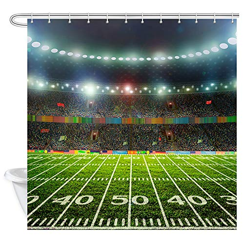 Sports Field Shower Curtain, Football Soccer Ball on The Field of Stadium 69W X 70L Inches Polyester Waterproof Shower Curtains for Bathroom, Bath Curtains Liner Home Decor with Hooks]()