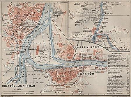 KHARTOUM OMDURMAN antique town city plan Sudan BAEDEKER 1914