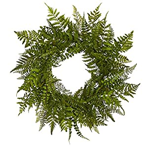 "Nearly Natural 24"" Mixed Fern Wreath, Green 56"