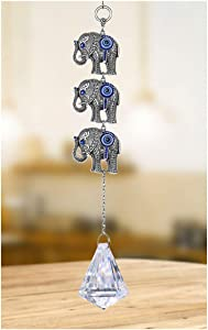 YU FENG Three Elephants Turkish Blue Evil Eye Home Protection Hanging Charm with Crystal Ornament