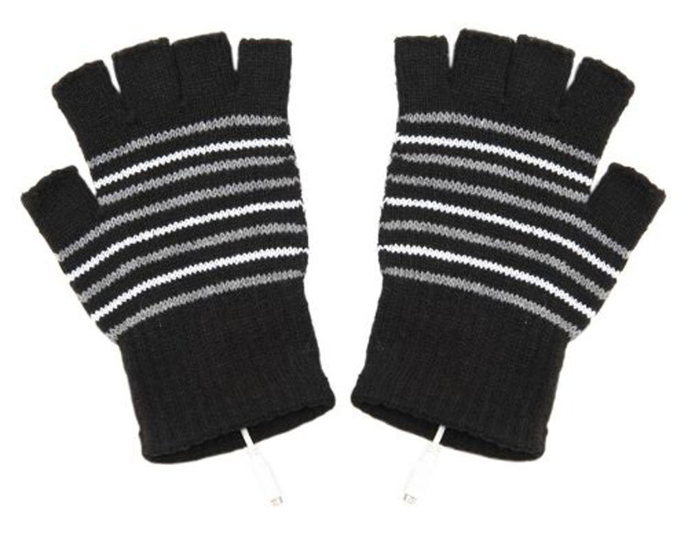 EUBUY Stripe Pattern USB2.0 Fingerless Heating Knitting Wool Hands Warm Gloves Gloves (Black)