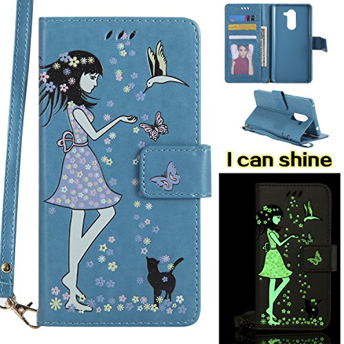 Honor 6X Case, Ranyi [Glow/Shine/illuminate Wallet] [Glow at Night] [with Wrist Strap] [ID&Card Holder] Cute Flip PU Leather Magnetic Wallet Case for Huawei Honor 6X (2017), blue