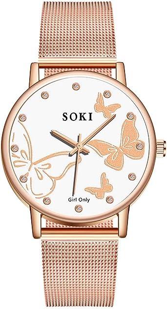 DAYLIN Relojes Mujer Marcas Moda Reloj Oro Rosa Pulsera de Cuarzo ...