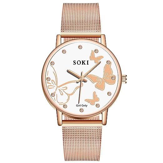 DAYLIN Relojes Mujer Marcas Moda Reloj Oro Rosa Pulsera de Cuarzo Analogico Reloj Correa Malla de Acero Inoxidable Joyas Regalos: Amazon.es: Relojes