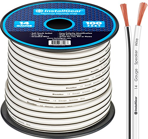 (InstallGear 14 Gauge AWG 100ft Speaker Wire Cable - White)