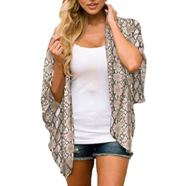ef1bac1ab0bb9 Women Chiffon Snake Print Kimono Loose Half Sleeve Shawl Cardigan ...