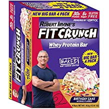 FITCRUNCH Protein Bars   Designed by Robert Irvine   World's Only 6-Layer Baked Bar   Just 6g of Sugar & Soft Cake Core (Big Bar 4 Pack, Birthday Cake)