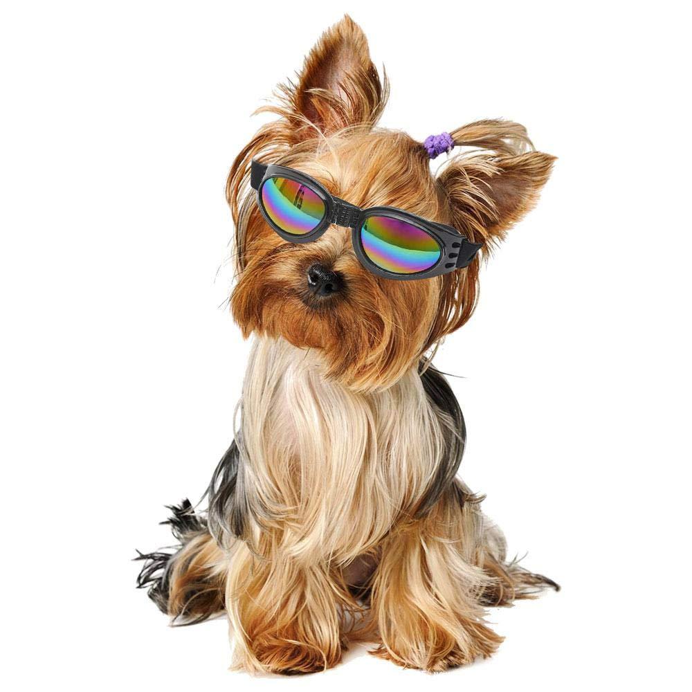 Chien Lunettes de soleil, pliable pour animal domestique Lunettes Cute protection UV coupe-vent Lunettes Eyewear photos Props avec bande réglable pour chiot Doggy Chat Chaton pour animal domestique AOLVO