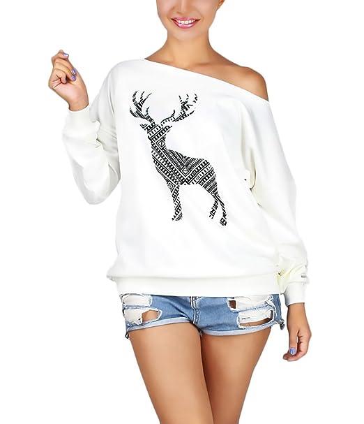 Mujer Sudaderas Elegante Navidad Fiestas Sweatshirts Tallas Grandes Reno Modernas Casual Estampadas Pullover Invierno Otoño Retro Manga Larga Un Hombro ...