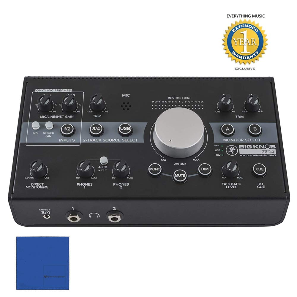 Mackie Big Knob Studio Monitor Controller and Interface with 1 Year EverythingMusic Extended Warranty Free