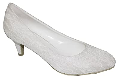 Chic Feet Ladies Womens Ivory Lace Low Heel Bridal Bridesmaid Prom Wedding Shoes