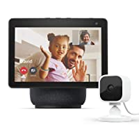 All-new Echo Show 10 (3rd Gen) | Charcoal with Blink Mini Indoor Smart Security Camera, 1080 HD with Motion Detection