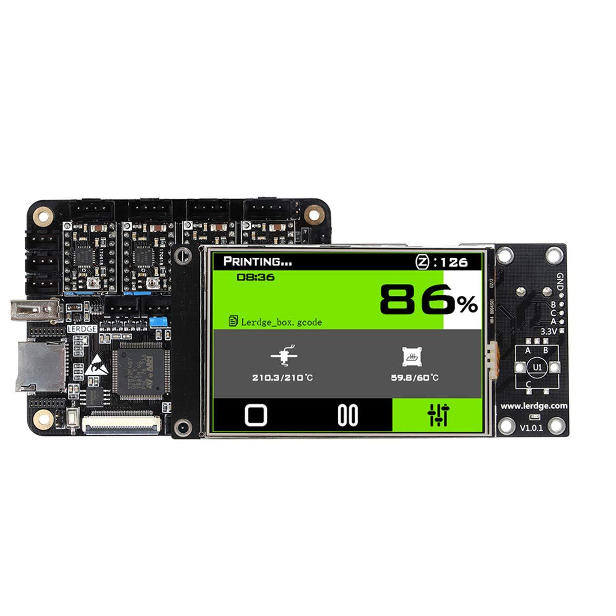 UKCOCO Lerdge-X ARM 32-bit Control Board with 3.5 inch Screen and 4 PCS A4988 Stepper Motor Drives Set 3D Printer Parts (Black)