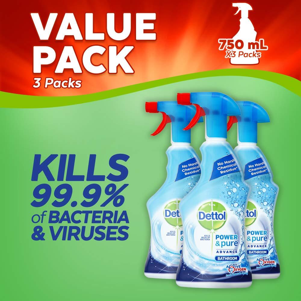 Dettol Power and Pure Advance Bathroom Cleaner, 750 ml, Pack of 3 Reckitt Benckiser